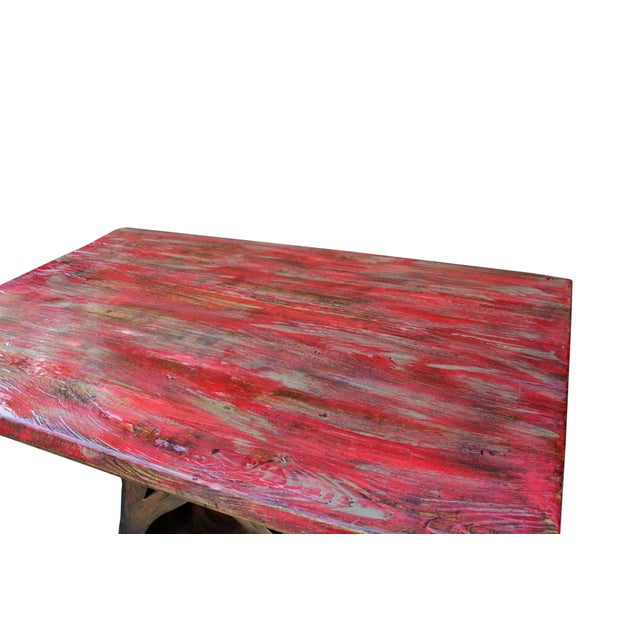 This is a rectangular shape raw wood plank ( few pieces jointed ) table / desk with bronze metal color upside down heart-...