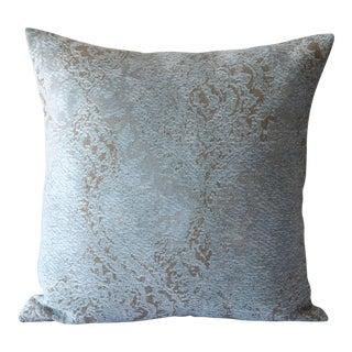 Oushak Chenille Damask Blue Pillow For Sale