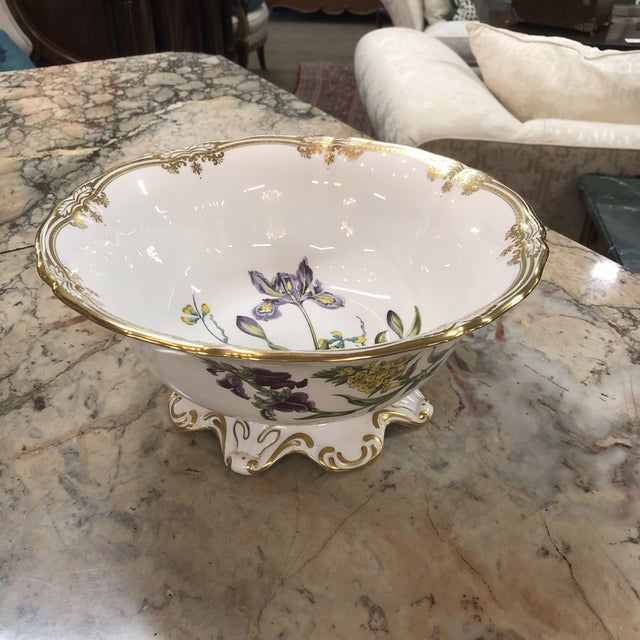 Ceramic Spode Scalloped Rim Botanical Bowl with Gold Details For Sale - Image 7 of 7