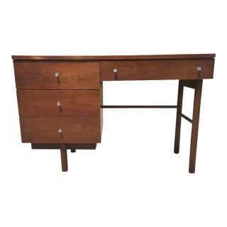 Mid Century Walnut Pedestal Paul McCobb Style Desk For Sale