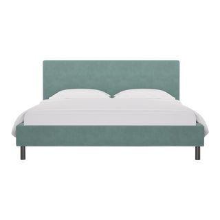 California King Tailored Platform Bed in Aqua Velvet For Sale