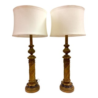 Monumental Pair Rococo Gilt & Marble Lamps - A Pair For Sale