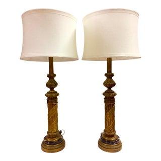 Monumental Pair Rococo Gilt & Marble Lamps - A Pair