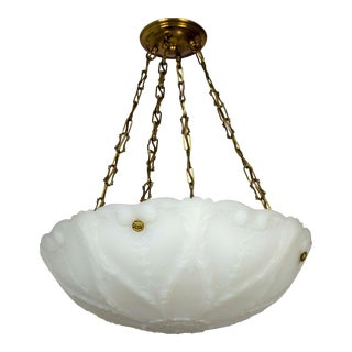 Antique Nouveau Molded Milk Glass Pendant with Brass Chain For Sale