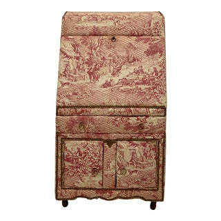 1950s French Toile Upholstered Sectetary For Sale
