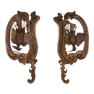 Large Pair of 19th Century French Oak Hunting Trophy Plaques of Dead Game Birds For Sale
