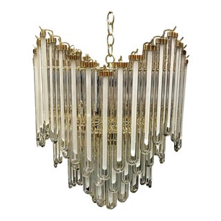 Stunning Clear and Frosted Murano Glass Brass-Mounted Prism Chandelier