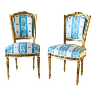 Louis XVI Style Striped Golden Chairs - a Pair For Sale