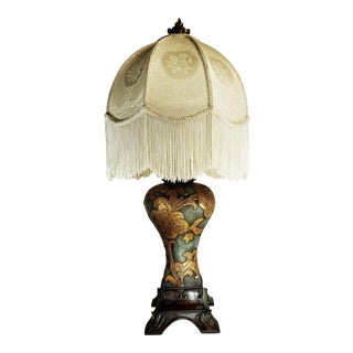 Urn Form Table Lamp With Brocade and Fringe Shade For Sale