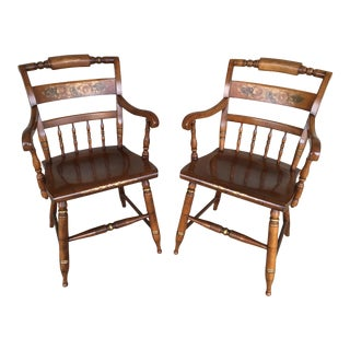 L. Hitchcock Harvest Maple Inn Chairs/Dining Arm Chairs - a Pair For Sale