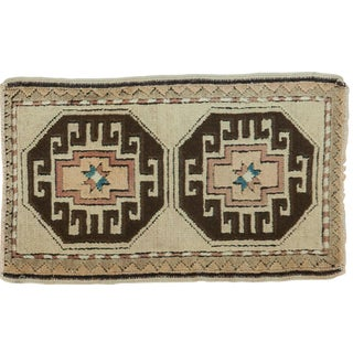 Vintage Oushak Rug Mat - 1′9″ × 2′11″ For Sale