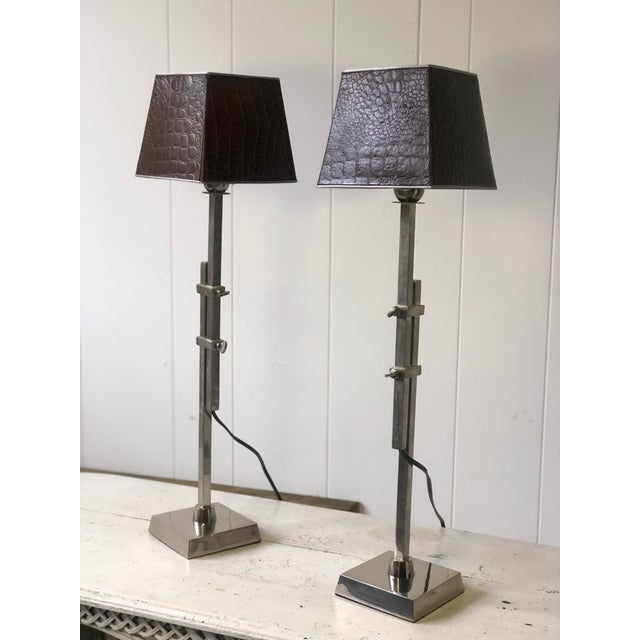 Pair of Adjustable Height Chrome Lamps With Leather Shades For Sale - Image 11 of 13