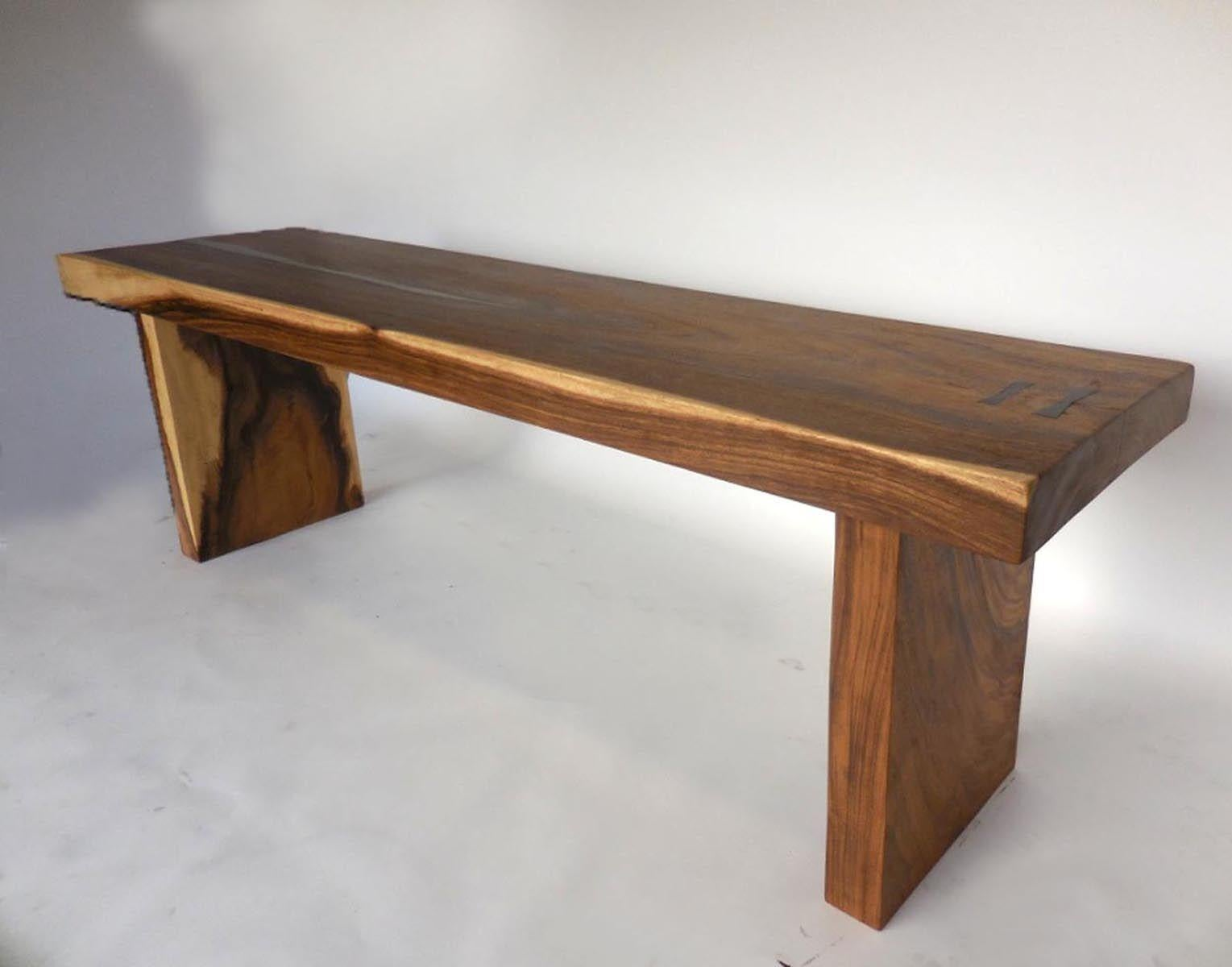 Ordinaire Organic Modern Wood Slab Console Table With Pewter Inlay For Sale   Image 4  Of 10