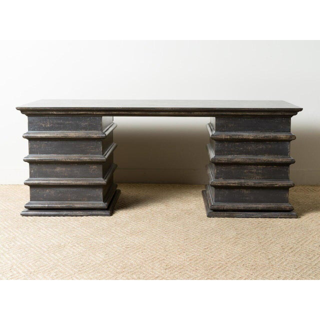 Sculptural wooden desk Eight drawers Lock and key hardware Hand painted black finish Handcrafted in Italy