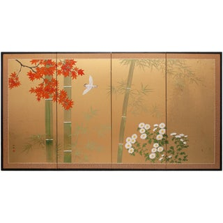 "Mid 20th Century Shōwa Era Japanese Byobu Screen ""Bird & Maple Tree"" For Sale"