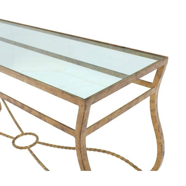 Metal Pair of Ornate Gold Finish Console Tables For Sale - Image 7 of 9