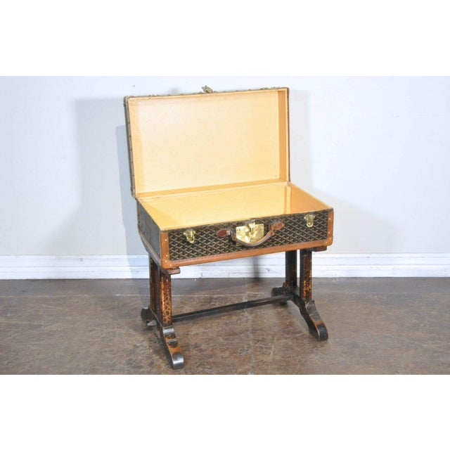 French 19th Century French Goyard Suitcase on Wooden Saw Horse Stand For Sale - Image 3 of 6