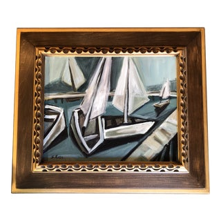 Original Stewart Ross Modernist Sail Boat Painting