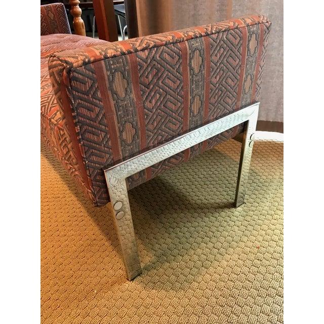 Vintage Chrome Upholstered Bench - Image 7 of 9