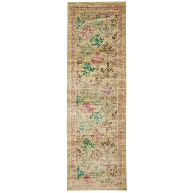 """Hand Knotted Beige Floral Wool Runner Rug - 2' 6"""" X 8' 10"""" For Sale"""