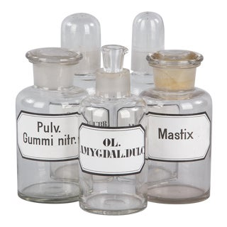 French Glass Pharmacy Bottles, Early 1900s - Set of 5 For Sale