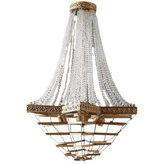 French Art Deco Six-Light Crystal Rope Chandelier For Sale