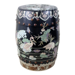 Vintage Black Garden Stool With Cranes and Lotuses For Sale