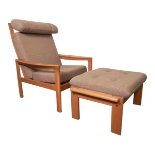 Hans Wegner Inspired Mid-Century Chair and Ottoman For Sale