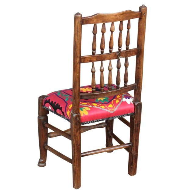 English Spindle Back Suzani Side Chair For Sale - Image 5 of 5