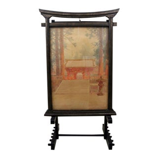 Antique M. Kano Watercolor Painting on Pagoda Stand