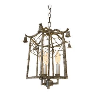 Pagoda Style Iron & Tole Lantern Pendant Chandelier For Sale