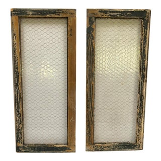 1890s Vintage Salvaged Police Station Chicken Wire Windows - a Pair For Sale