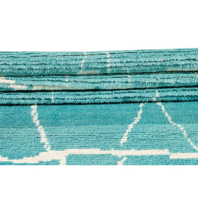 Contemporary 21st Century Modern Moroccan Style Wool Runner For Sale - Image 3 of 9