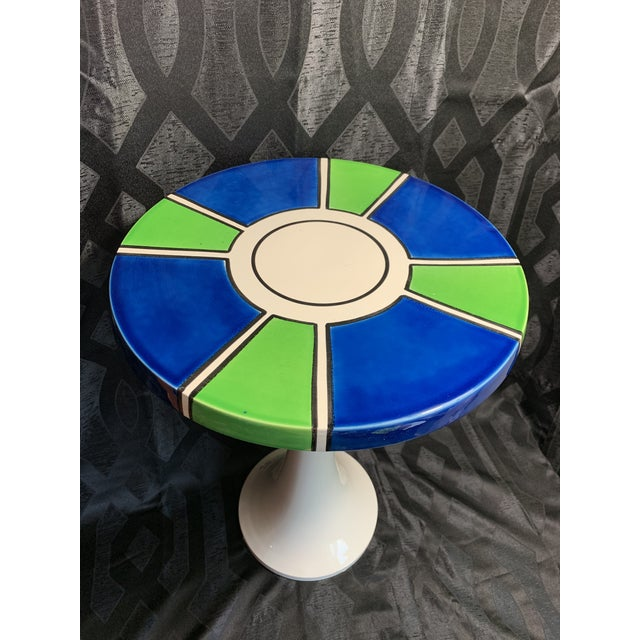 Mid-Century Modern 1960s Raymor Ceramic Pottery Tulip Shape Side Table, Made in Italy For Sale - Image 3 of 10