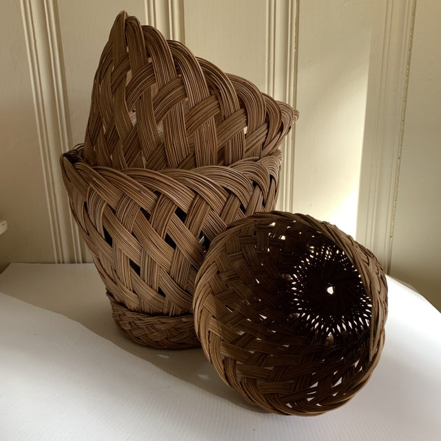 Brown Earthy Classic Basket Vessels, Set of Three For Sale - Image 8 of 13