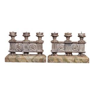19th Century Italian Silver Gilt Candelabras - Pair For Sale
