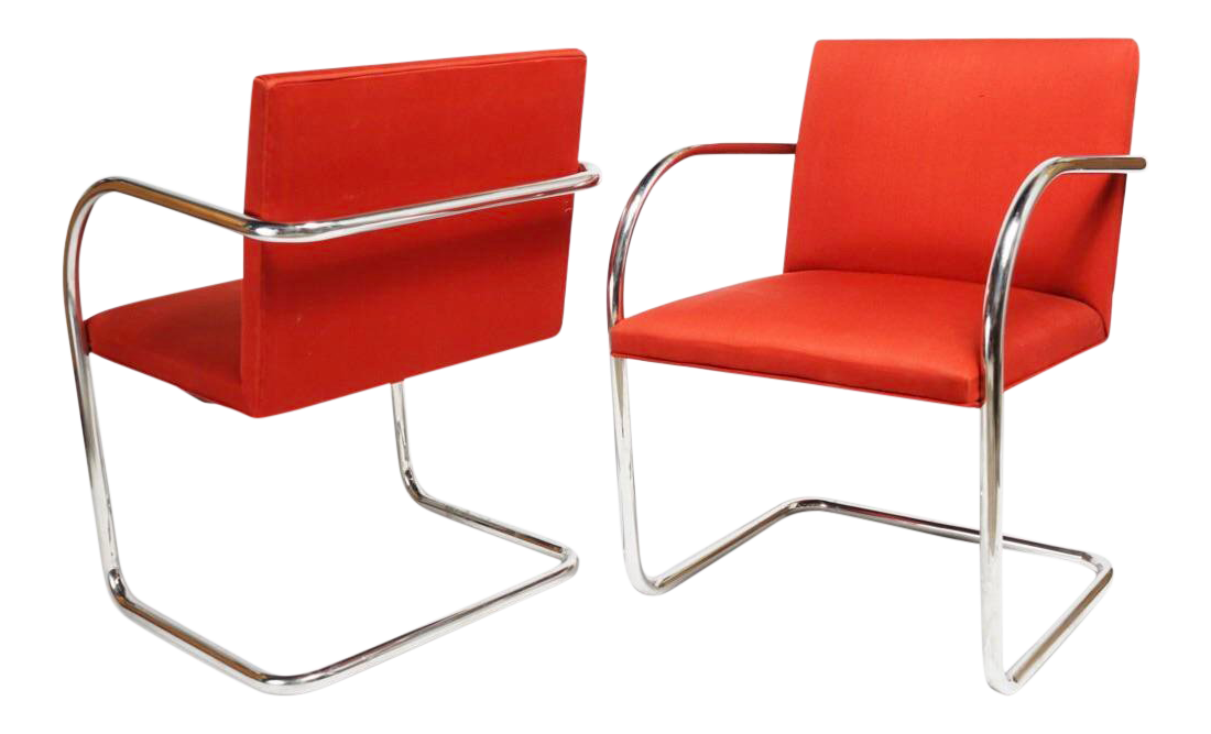 Pair Of Mid Century Modern Mies Van Der Rohe Brno Chairs