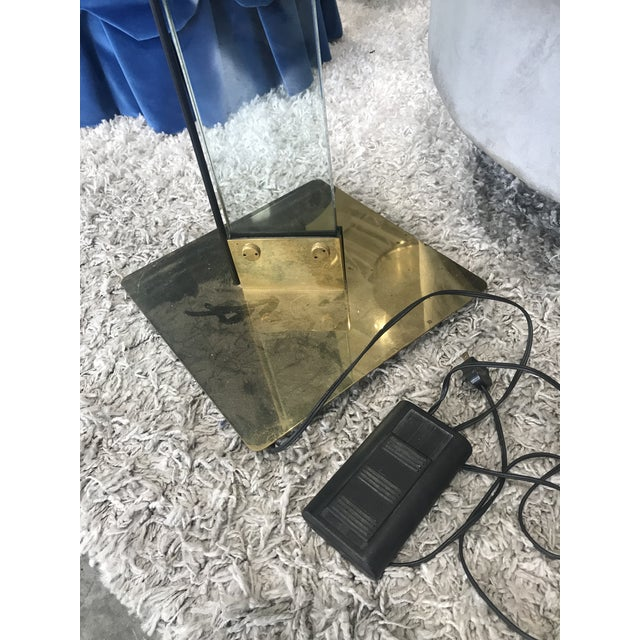 Italian Mid Century Brass and Glass Torchiere Floor Lamp For Sale - Image 11 of 12