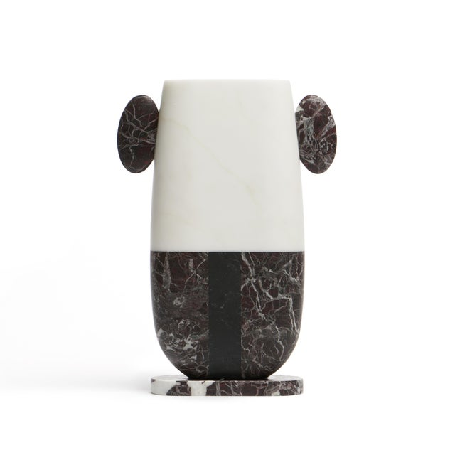 Vase in Red White and Black Marble by Matteo Cibic, Made in Italy For Sale - Image 6 of 10
