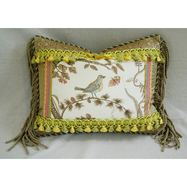 Designer Brunschwig & Fils Bird & Thistle Pillow - Image 2 of 6