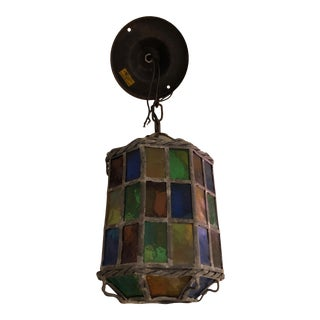 Vintage Stained Glass Lantern Shaped Pendant Chandelier For Sale