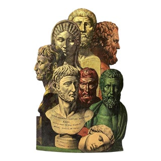 Piero Fornasetti Umbrella Stand, Lithographed Metal Trompe l'Oeil Antique Heads For Sale