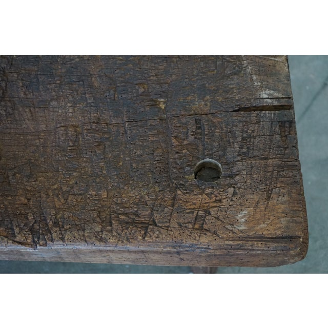 Brown Small Primitive Wooden Table For Sale - Image 8 of 10
