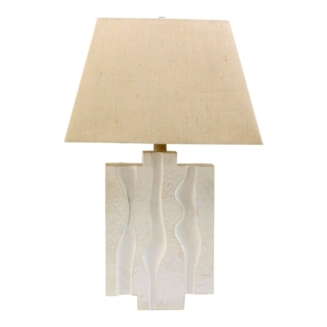 Mid Century Plaster Lamp on Lucite Base For Sale