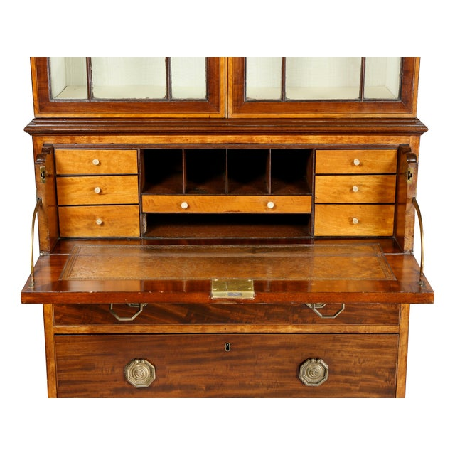 Late 18th Century Fine George III Diminutive Mahogany and Satinwood Secretaire For Sale - Image 5 of 13