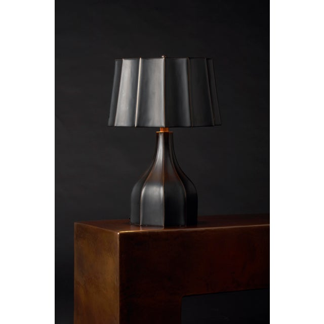 Faceted Lamp and Shade Black Lacquer Hand Repoussé Copper Base Limited Edition Lacquer is a technique that dates back to...