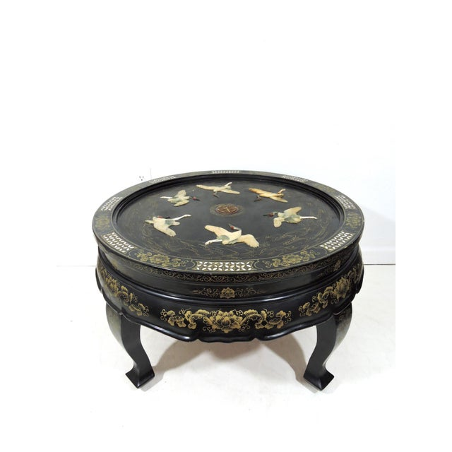 Black Antique Chinese 'Six Red Crowned Cranes' Folding Black Lacquer and Jade Tianjin Coffee Table For Sale - Image 8 of 8