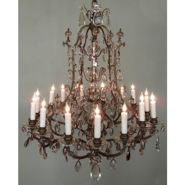 Gold Early 20th C Italian Patinated Bronze, Crystal and Amethyst Chandelier For Sale - Image 8 of 9