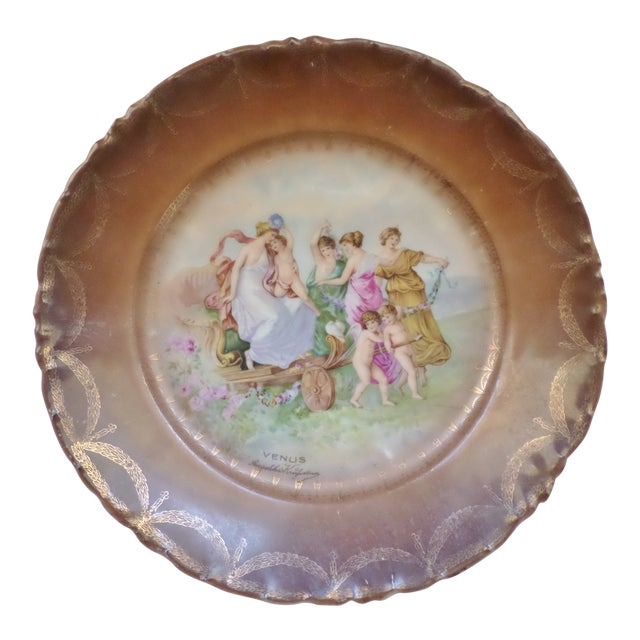 "Antique Artist Signed Angeliha Kaufmann 10"" Portrait Plate of Venus For Sale"