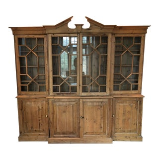 20th Century English Traditional Pine Breakfront For Sale